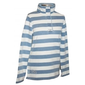 Ladies Saunton Sweatshirt Blue Wash Stripe