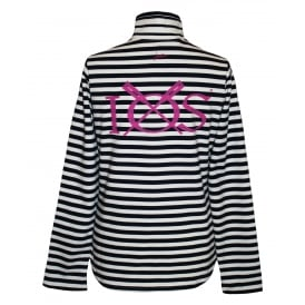 Ladies Fairdale Half Zip Sweatshirt Creme Navy Stripe