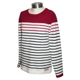 Ladies Seaham Chenille Jumper Navy Berry Stripe