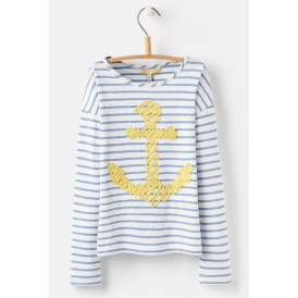 Kids Cora Embellished Jersey Blue Stripe Anchor