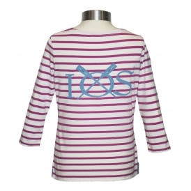 Ladies 3/4 Sleeve Breton Top Raspberry