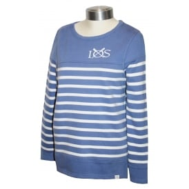 Ladies Stripe Sweatshirt Bleached Denim