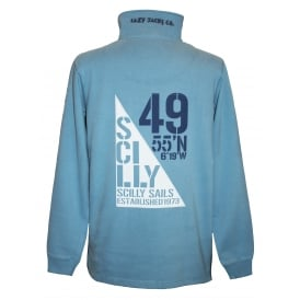Mens Sail Flag 1/4 Zip Sweatshirt Slate Blue
