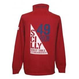 Mens Sail Flag 1/4 Zip Sweatshirt Brick