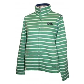 Ladies Panel Stripe Full Zip Sweatshirt Thyme