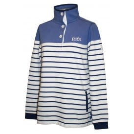 Ladies Slim Fit Button Neck Stripe Sweat Bleached Denim