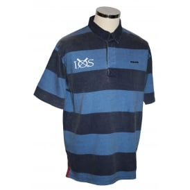 Mens Short Sleeved Striped Rugby Shirt Navy Electric