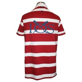 Mens Short Sleeve Striped Rugby Shirt Brick
