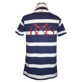 Mens Short Sleeve Striped Rugby Shirt Maritime Blue