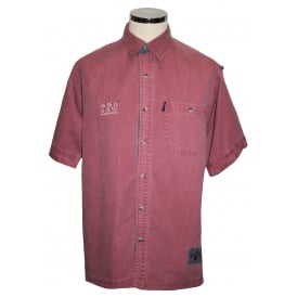Mens Short Sleeved Cotton Twill Shirt Washed Red