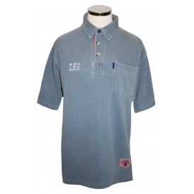 Mens Short Sleeved Polo With Pocket Washed Electric Blue