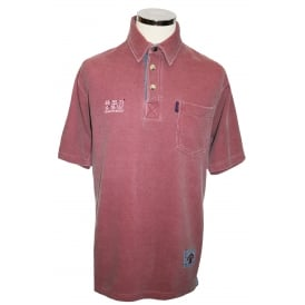 Mens Short Sleeved Polo With Pocket Washed Red
